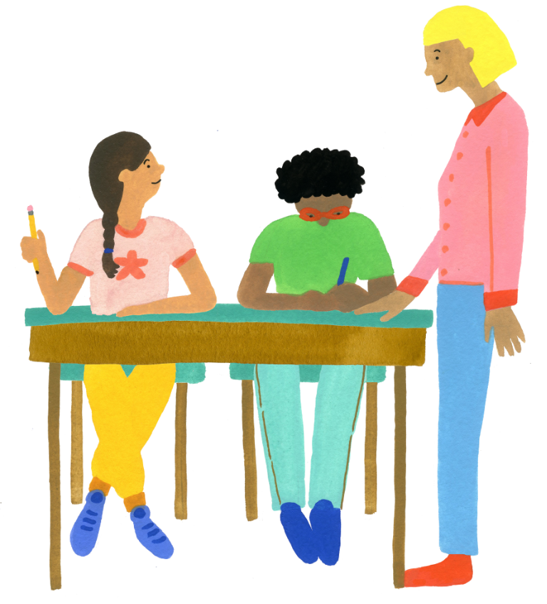 Illustration drawing of a teacher standing at the table of two students to help them with their work.