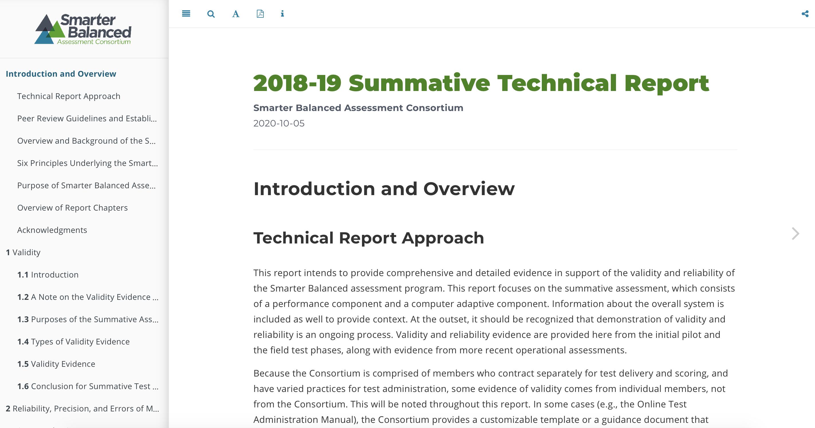 Screenshot of the 2018-19 Summative Technical Report.
